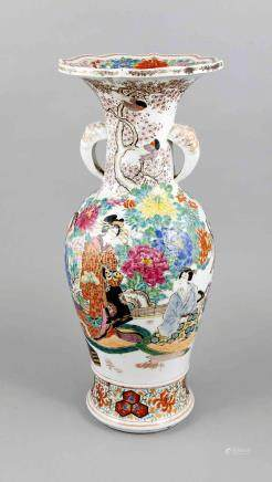 Famille Rose vase, Japan, 19th century, baluster shape with