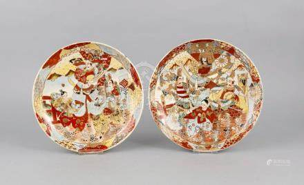 Pair of small Satsuma-plates, Japan, 19th century, written b