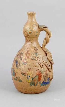 A Japanese flask, presumably 19th century, Satsuma?, stonewa