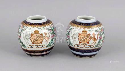 Paar Ingwertöpfe, Japan, 1. H. 20. Jh., Dekor in Unterglasur