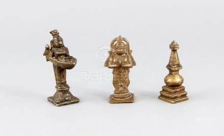 Three small bronzes, India, 19th century, Shiva (holding an