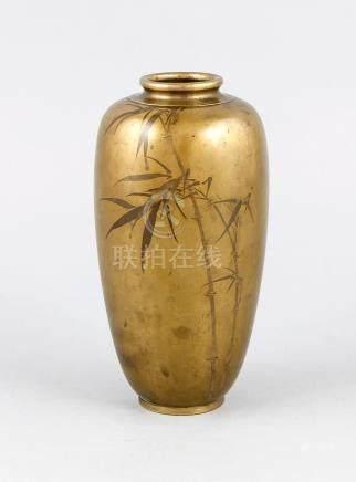 Bronze vase with bamboo decor, Japan, around 1900, marked, h