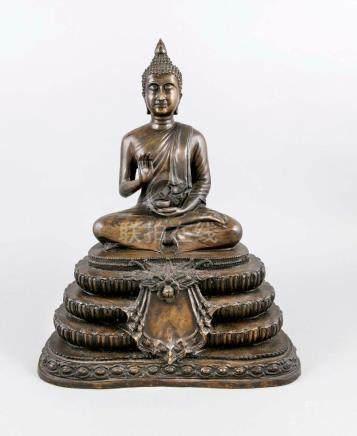 Large Buddha, probably Thailand, around 1900, bronze, dark p