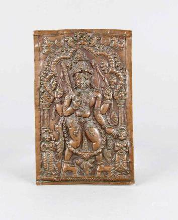 Virabhadra relief, South India, 18th/19th century, copper, d