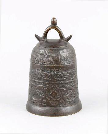 Bronze bell, China, 19th century, body divided into 3 orname