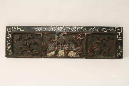 Antique Chinese carved wall panel w/ MOP border