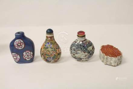 4 Chinese vintage porcelain snuff bottles
