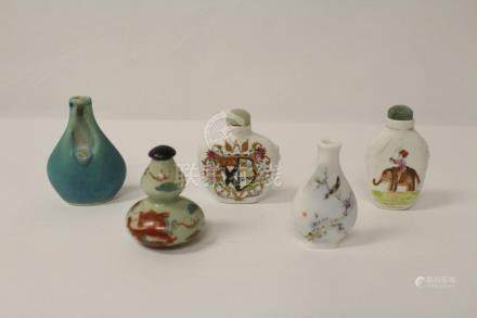 5 Chinese vintage porcelain snuff bottles