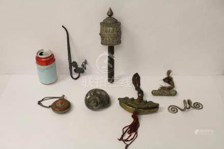 6 Tibetan silver like religious items