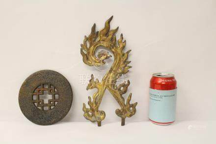 Chinese antique mirror(?), and a gilt bronze ornament