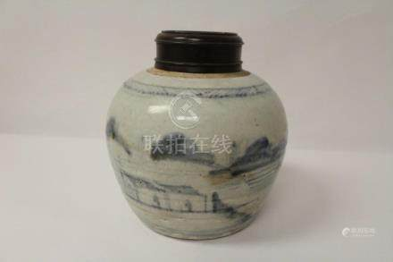 Chinese Ming blue and white porcelain jar