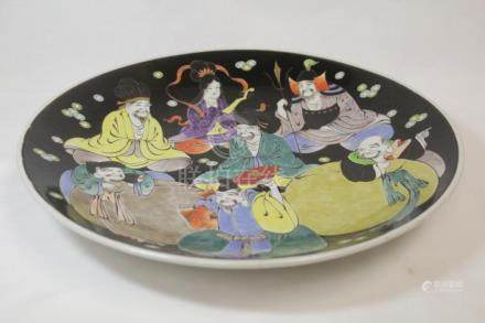 Japanese kutani charger painted with immortals