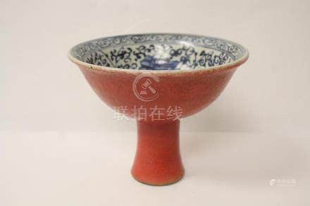 A Chinese blue, red and white stem bowl