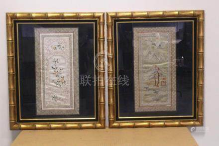 2 Chinese framed embroidery panels