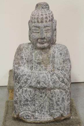 A vintage Chinese stone carved Buddha statue