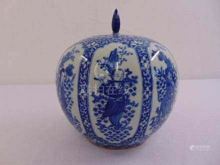 A Chinese blue and white ginger jar and cover decorated with figures and flowers, six character