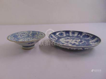 A Chinese blue and white dish on raised circular base and a Chinese blue and white plate, marks to