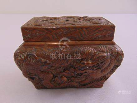 A Chinese shaped rectangular bronze covered box heavily chased with dragons and flowers