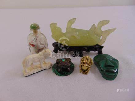A quantity of collectables to include a carved jadeite horse, a Chinese reverse painted glass