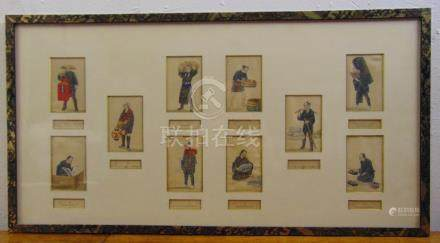 A Chinese framed and glazed hand painted on silk of figures selling there wares