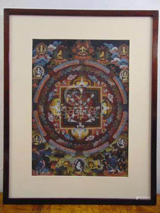 A framed and glazed Tibetan mandala, polychromatic watercolour of various deities, original label to