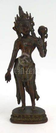 A Siamese copper figure modelled as the standing Bodhisattva on a lotus base, h. 31.