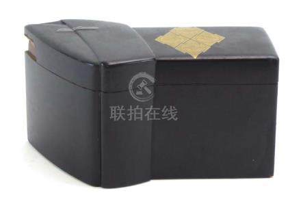 A Meiji black and gilt decorated lacquered box and cover of unusual form,