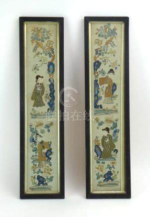A pair of Chinese embroidered panels each depicting figures amongst flowers and blossom, 55.