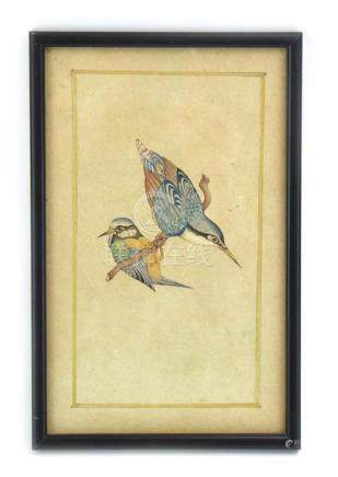 A Japanese watercolour depicting a pair of blue tits resting on a branch, unsigned, overall 25 x 15.