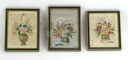 A group of three Chinese watercolours on pith paper, each depicting a basket of flowers, max 19.