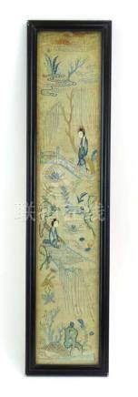 A late 19th/early 20th century Chinese embroidered panel depicting figures within weeping willows,