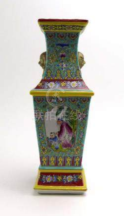A Cantonese slab-type vase of canted square form decorated in coloured enamels with children and