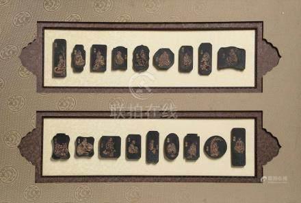 Ensemble de 18 pains à encre moulées des 18 lohans d'après Guanxiu des cinq [...]