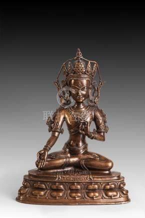 Le Boddhisattva Padma Pani Lokesvara assis en virasana sur une base lotiforme les [...]