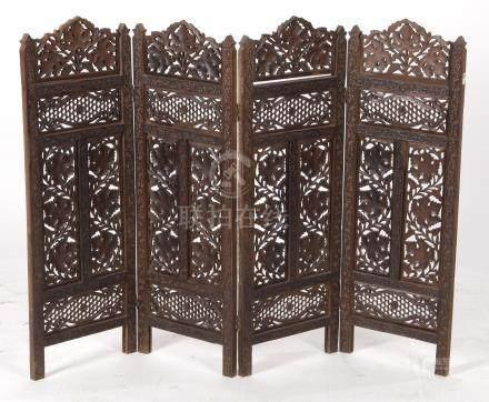 Oosters rijkbestoken 4-slags kamerscherm met druivenranken decor 85 cm hoog, 117 cm breed