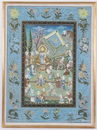 Iraanse miniatuur beschildering, Ghajar stijl, vele figuren in landschap, geschilderd op textiel / zijde, 55x40 cm