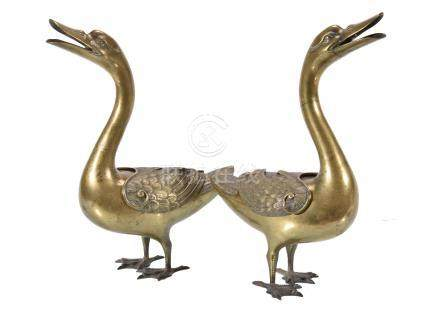 A Pair of Cast Bronze Incense Burners modelled as Geese