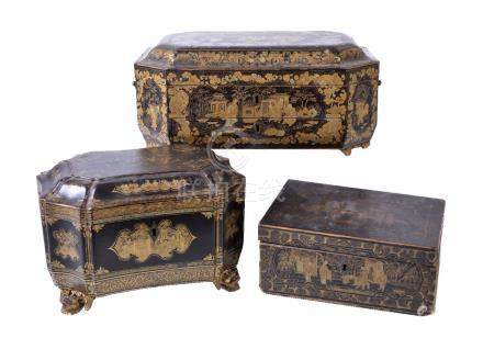 A Chinese export black and gilt lacquer sewing box and cover