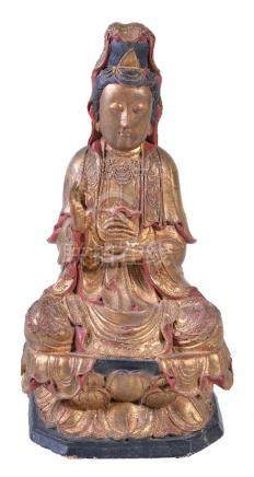 A Chinese gild-wood and gesso model of Guanyin