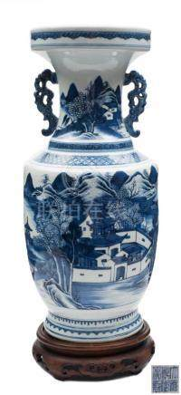 A Chinese Export blue and white vase: of baluster form with pierced chilong handles,