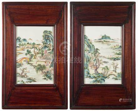 A pair of Chinese famille verte rectangular plaques: painted with extensive mountainous lake