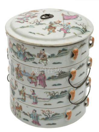 A set of four Chinese famille rose stacking bowls and cover: painted with dignitaries and