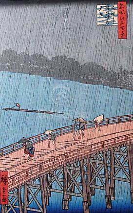 AFTER HIROSHIGE, 'Sudden Shower Over Ahashi Bridge', from One Hundred Famous Views of Odo,