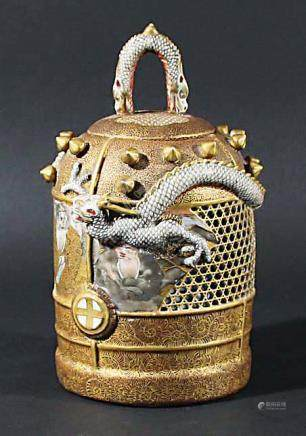 JAPANESE SATSUMA RETICULATED, DOUBLE WALL POT POURRI OR KORO AND COVER, Meiji, the pierced body with