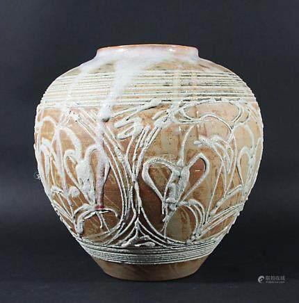 JAPANESE MASHIKO STONEWARE VASE, 20th century, of ovoid form, a thick translucent glaze above