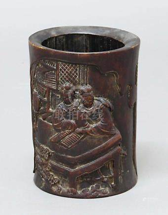 CHINESE BAMBOO BRUSH POT, carved with two figures reading, the reverse with a four line