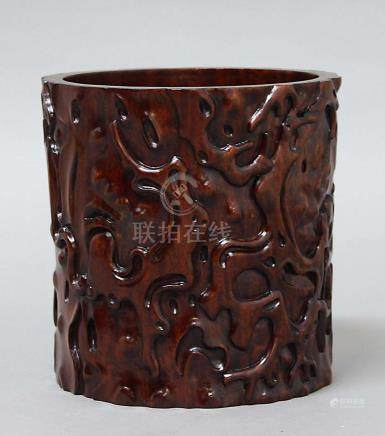 CHINESE HARDWOOD BRUSH POT, BITONG, 20th century, carved with scrolling root decoration, height