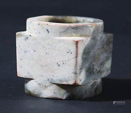 CHINESE ARCHAISTIC STYLE JADE CONG, grey and off white, height 4.5cm