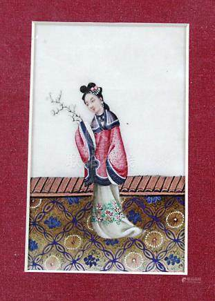 SET OF FOUR CHINESE RICE PAPER PAINTINGS, of a young lady in a pink, floral robe, 13cm x 8cm;