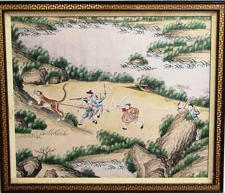 CHINESE SCHOOL, A Tiger Hunt, watercolour, 74cm x 90cm